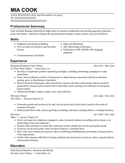 Shipping Manager resume template California