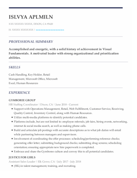 Guest Service Attendant resume sample California