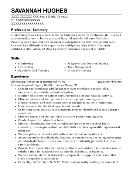 Emergency Department Registered Nurse resume template California