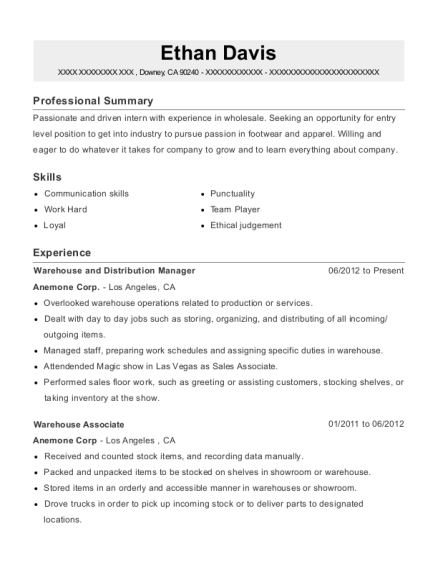 Warehouse and Distribution Manager resume example California