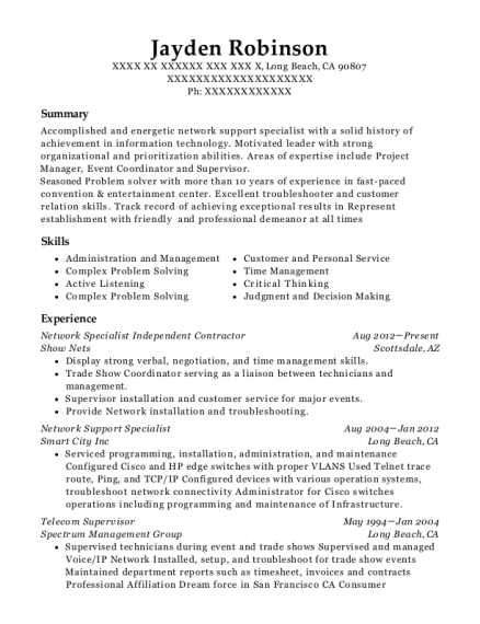 Network Specialist Independent Contractor resume sample California