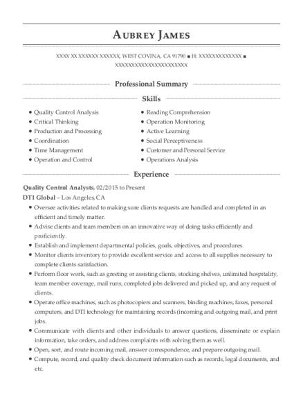 Quality Control Analysts resume format California