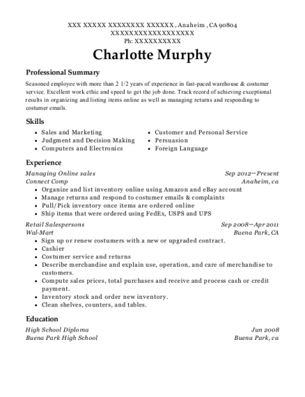 Managing Online sales resume sample California