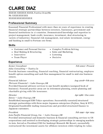 Senior Consultant resume format California
