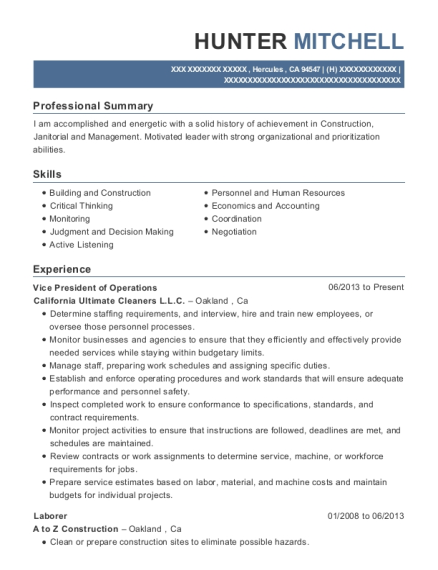 Vice President of Operations resume format California