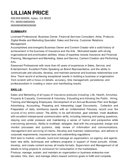 Financial Services Consultant resume format California