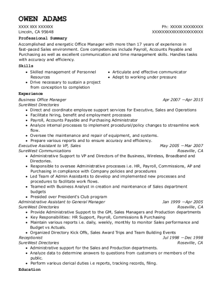 Business Office Manager resume sample California