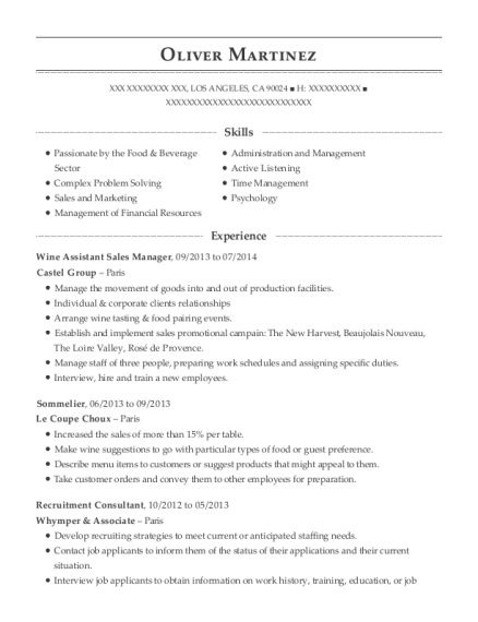 Wine Assistant Sales Manager resume format California