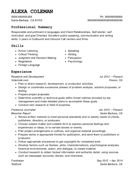 Research and Development resume template California