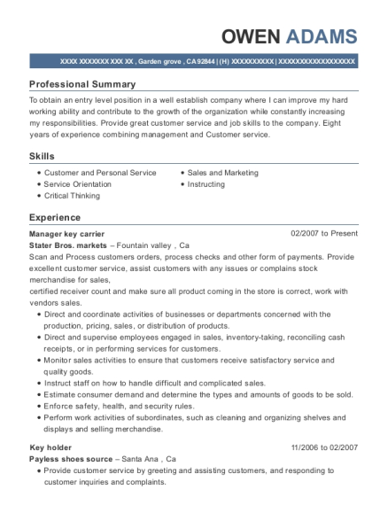 Manager key carrier resume template California