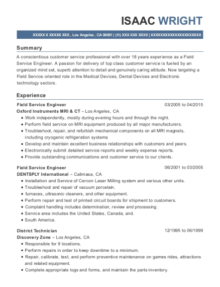 Field Service Engineer resume format California