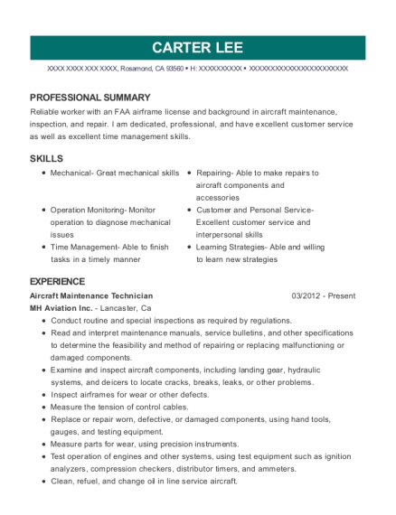 Aircraft Maintenance Technician resume sample California