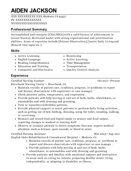 Certified Nursing Assitant resume example California