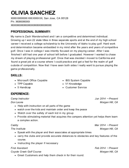 Camp Instructor resume template California