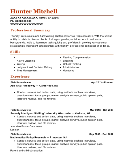 Field Interviewer resume example California