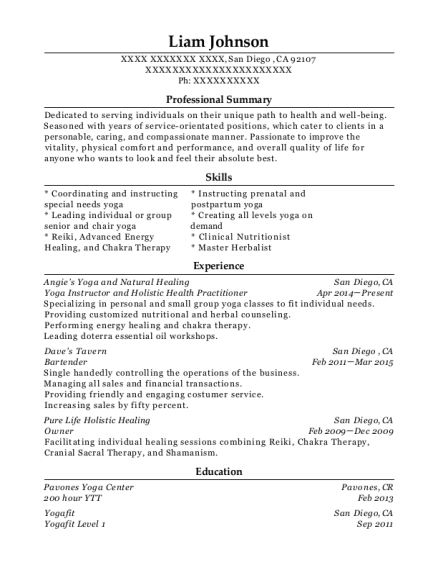 Yoga Instructor and Holistic Health Practitioner resume format California