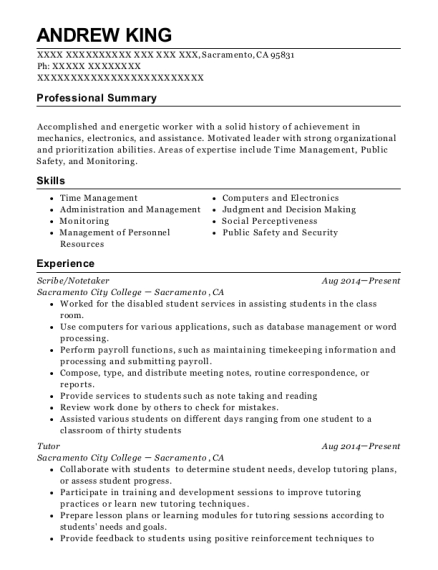 Scribe resume sample California