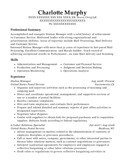 Station Manager resume template California