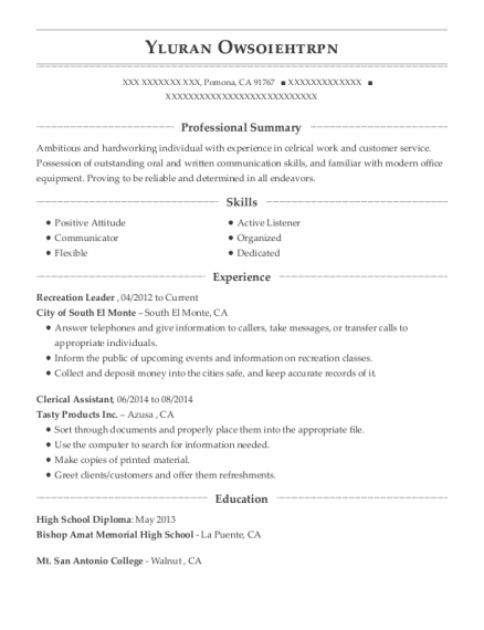 Recreation Leader resume template California