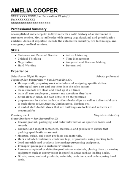 Sales Porter Night Manager resume template California