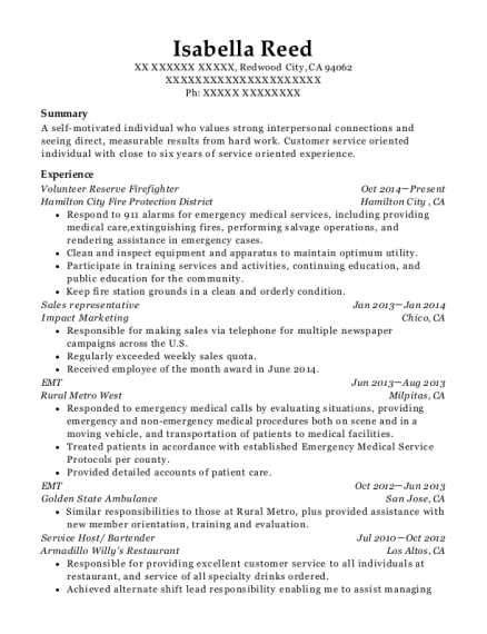 Volunteer Reserve Firefighter resume sample California