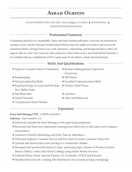 Front End Manager resume sample California