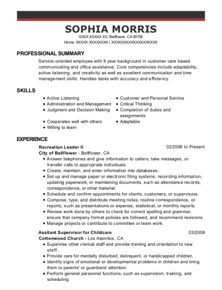 Recreation Leader II resume template California