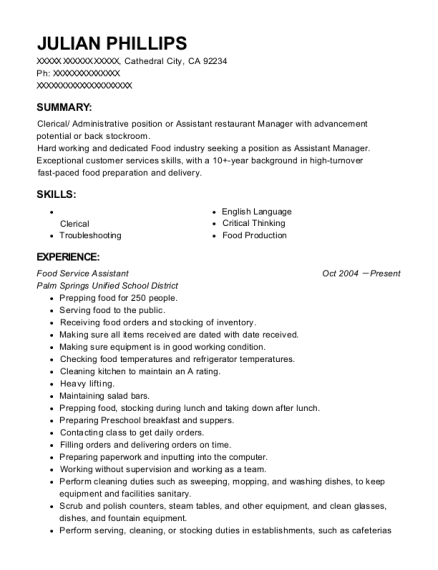Food Service Assistant resume example California