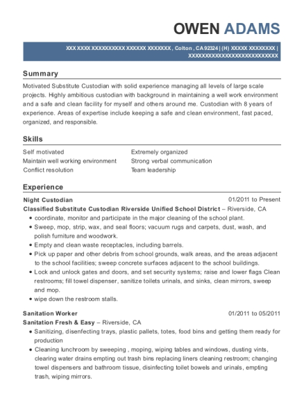 Night Custodian resume sample California