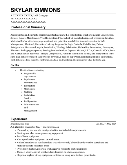 Maintenance lead resume template California