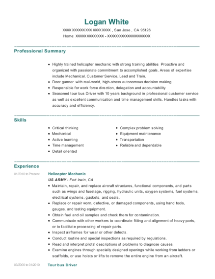 Helicopter Mechanic resume sample California