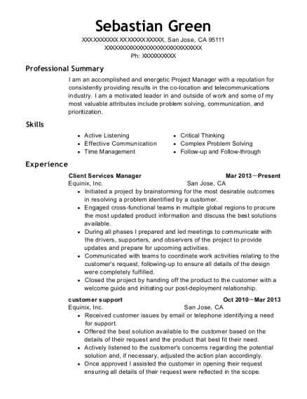 Client Services Manager resume sample California