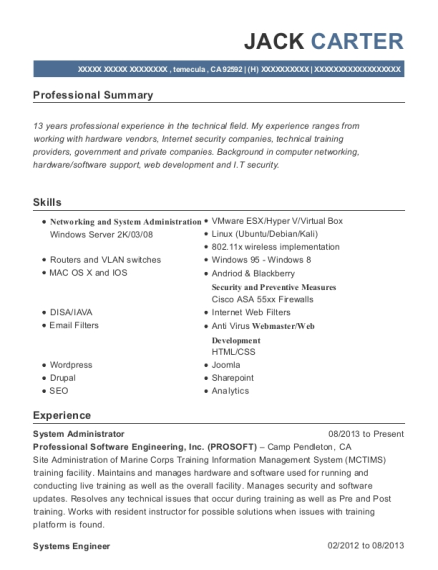 System Administrator resume sample California