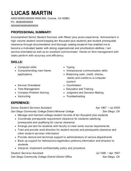 Senior Student Services Assistant resume format California
