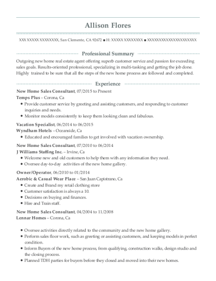 New Home Sales Consultant resume template California