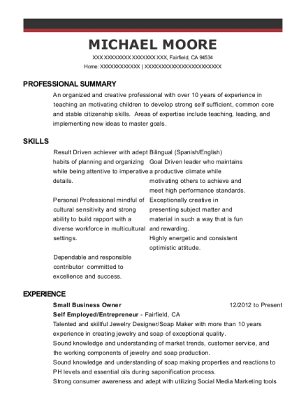 Small Business Owner resume example California