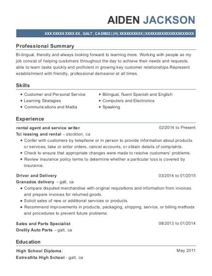 rental agent and service writer resume format California