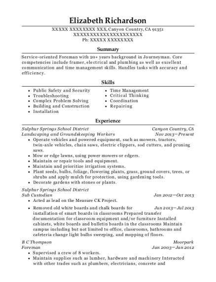 Landscaping and Groundskeeping Workers resume format California