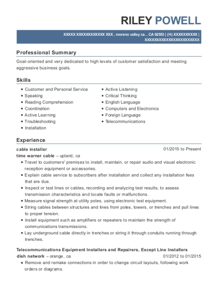 Cable Installer resume template California
