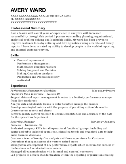 Performance Management Specialist resume template California