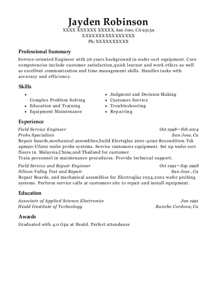 Field Service Engineer resume example California