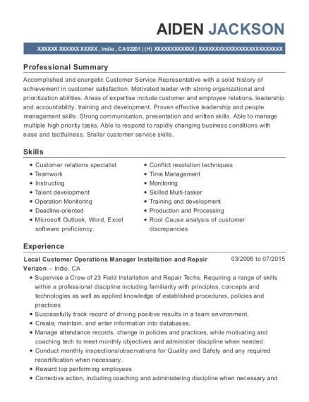 Local Customer Operations Manager Installation and Repair resume example California