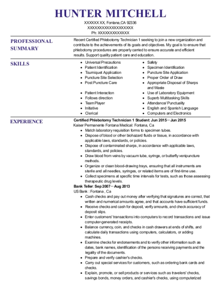 Certified Phlebotomy Technician 1 Student resume sample California