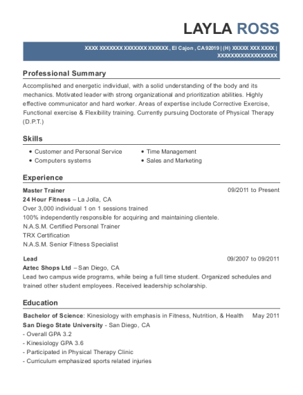 Master Trainer resume sample California
