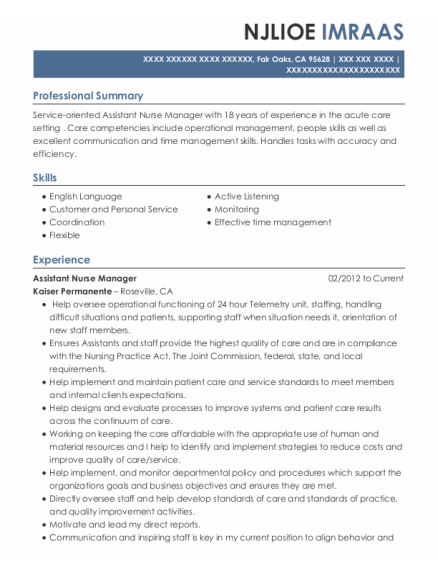 Assistant Nurse Manager resume template California