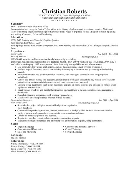 Senior Teller resume format California