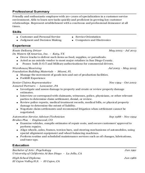 Route Delivery Driver resume template California