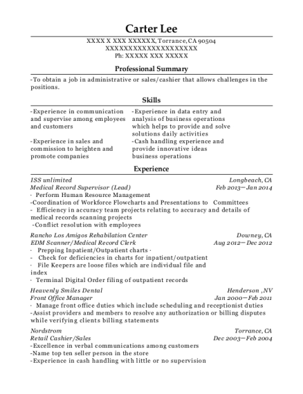 Medical Record Supervisor resume format California