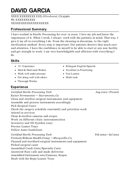 Certified Sterile Processing Tech resume format California