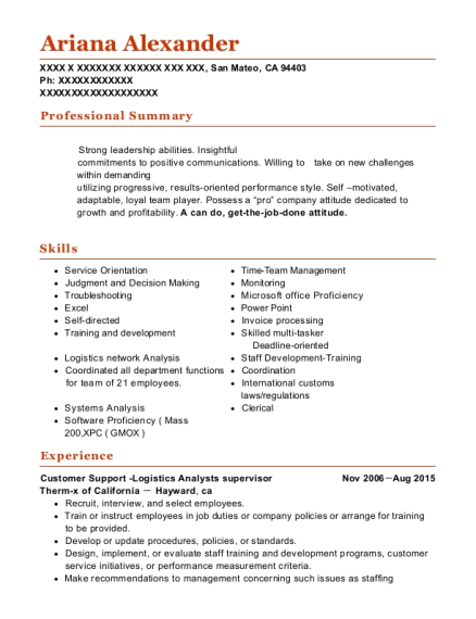 Customer Support Logistics Analysts supervisor resume template California